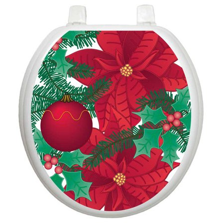 Toilet tattoos holiday poinsettia toilet seat decal for Tattoo shops hiring front desk