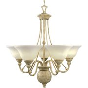 Progress Lighting P4010 Savannah 5 Light Chandelier with Antique Alabaster Glass