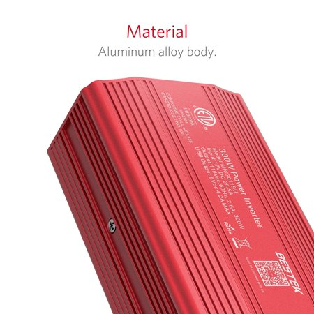 BESTEK 300W Power Inverter DC 12V to 110V AC Car Inverter with 4.2A Dual USB Car Adapter, Red - image 6 of 7