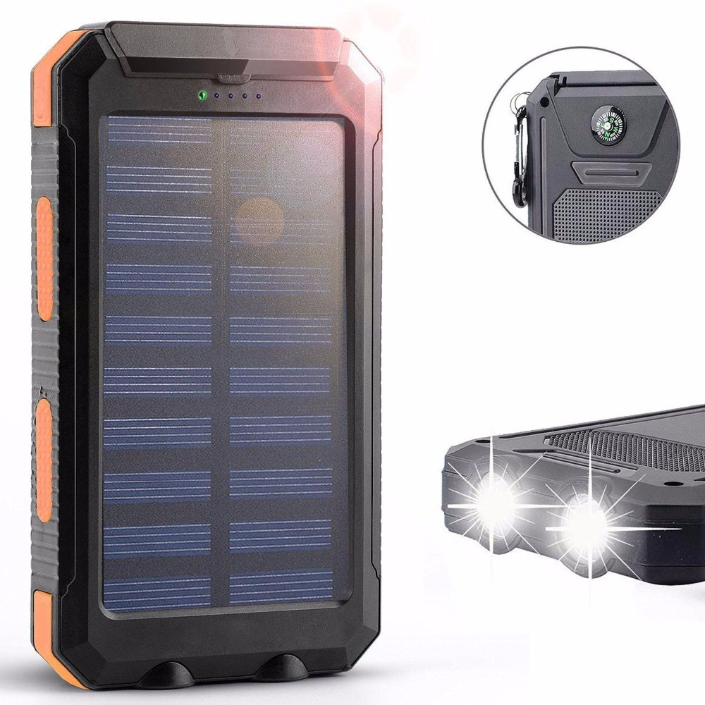 iMeshbean 30000mAh Power Bank Solar Charger Waterproof Portable External Battery USB Charger Built in LED light(White+Green)
