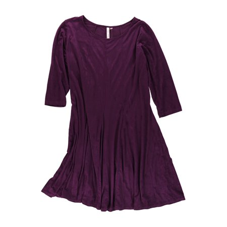 Ny Collection Womens Plus Size Faux Suede Shift Dress