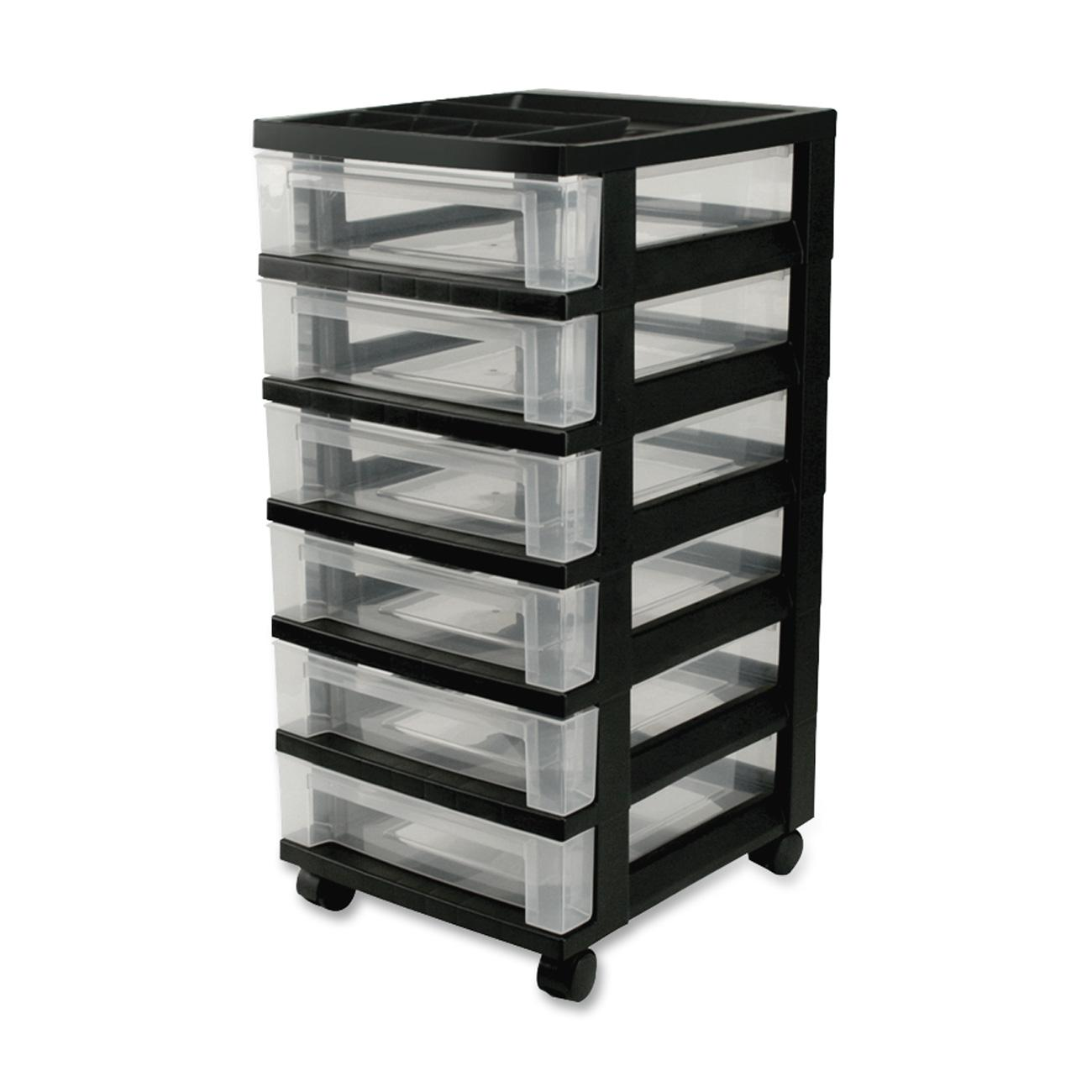 IRIS 6 Drawer Rolling Storage Cart With Organizer Top, Black
