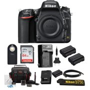 Nikon D750 FX-format Digital SLR Camera (Body Only) with 64 GB Deluxe Accessory Bundle