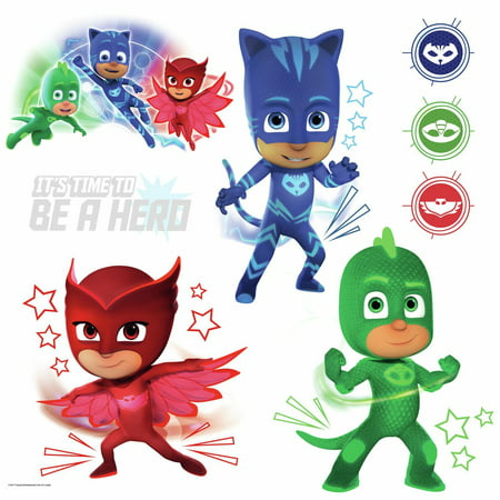 Roommates PJ Masks Peel and Stick Wall Decals with Glow Kids Room Decor Stickers