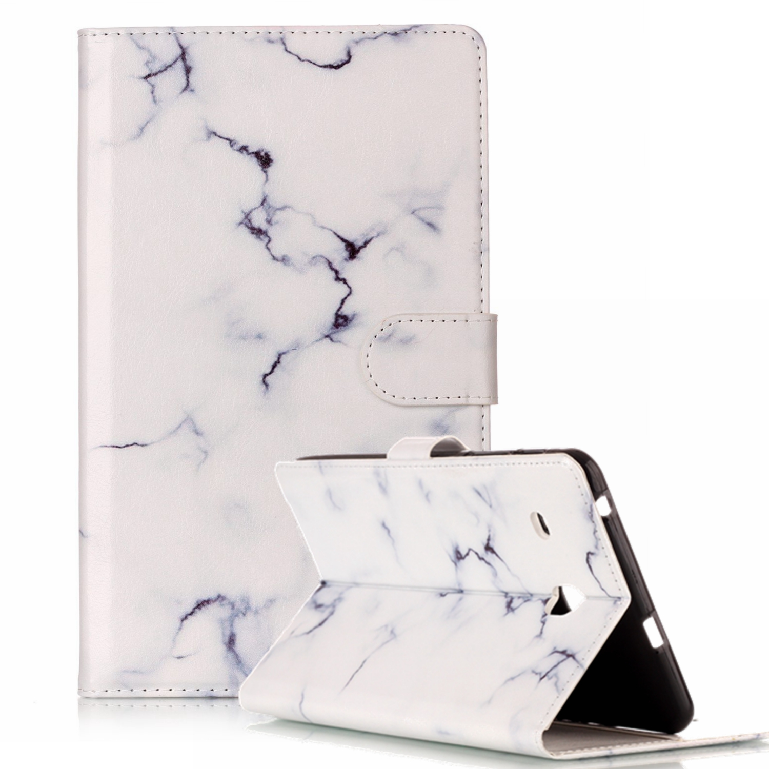 Goodest Folio Case for Galaxy Tab A 10.1, Premium PU Leather Slim Fit Smart Stand Cover with Auto Sleep/Wake for Samsung Galaxy Tab A 10.1 Inch (NO S Pen Version SM-T580/T585/T587), White Marble