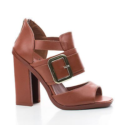 Iverson05 by Wild Rose, Peep Toe Strappy Cut Out Block Heel Dress Sandals