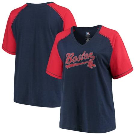 Women's Majestic Navy/Red Boston Red Sox Plus Size High Percentage Raglan V-Neck T-Shirt Boston Red Sox Center