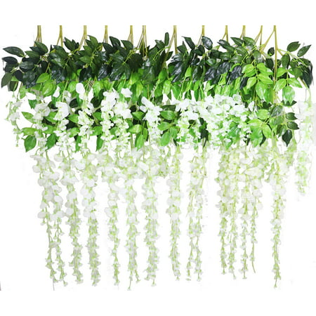 White Fake Flowers (Coolmde 12 Pack 1 Piece 3.6 Feet Artificial Fake Wisteria Vine Ratta Hanging Garland Silk Flowers String Home Party Wedding)