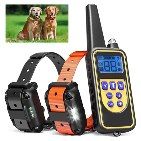 Pet Dog 880 Yard Remote Trainer with Tone/Beep and 99 Levels of Static - Rechargeable, Easy-to-Use Dog Training System, Waterproof Design (1 Remote Transmitter+2 Collars) Yard Remote Trainer