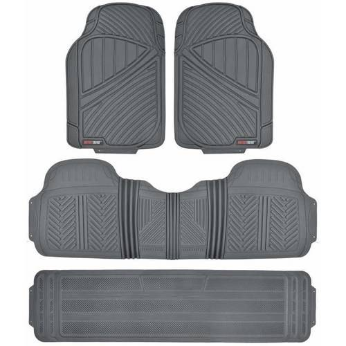 (Motor Trend FlexTough Car Floor Mats 3 Rows, Odorless EcoClean Liners, 3 Colors)