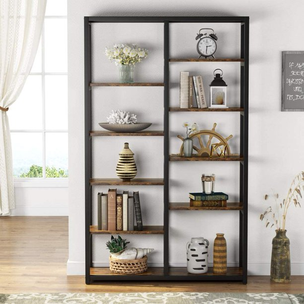 Tribesigns Industrial Bookshelf, Vintage 10-Tier Double Wide Etagere Bookcase Solid Wood and Metal Frame Bookshelves, Open Display Shelf Storage Organizer for Home Office, Living Room