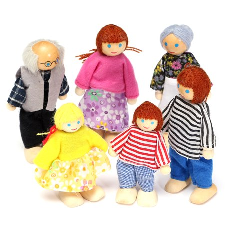 Moaere 6Pcs Poseable Dollhouse Dolls Wooden Doll Family Pretend Play Mini People Figures