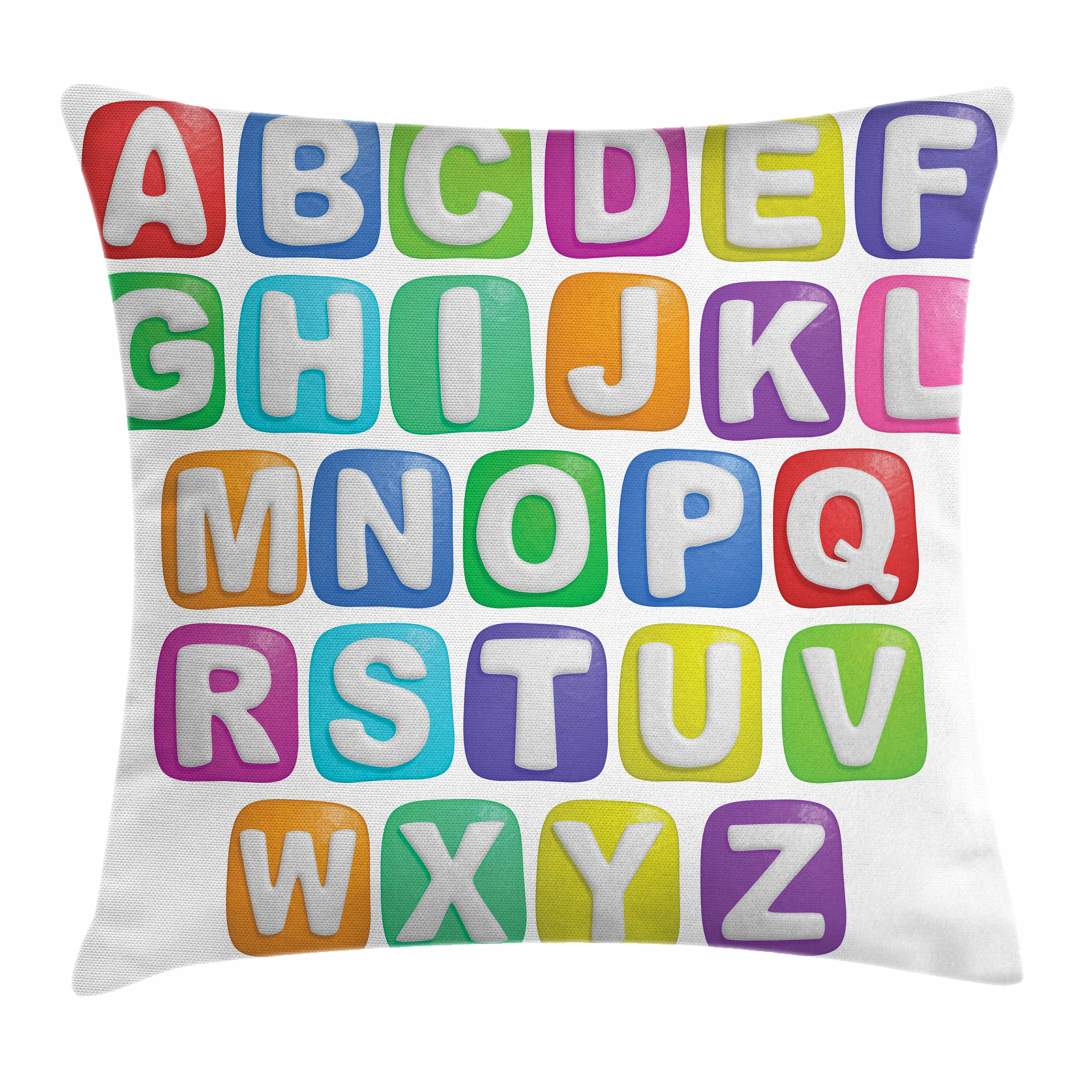 Letter Throw Pillow Cushion Cover, Cartoon Style Colorful Alphabet Squares Children Kids Nursery Kindergarten Design, Decorative Square Accent Pillow Case, 18 X 18 Inches, Multicolor, by Ambesonne