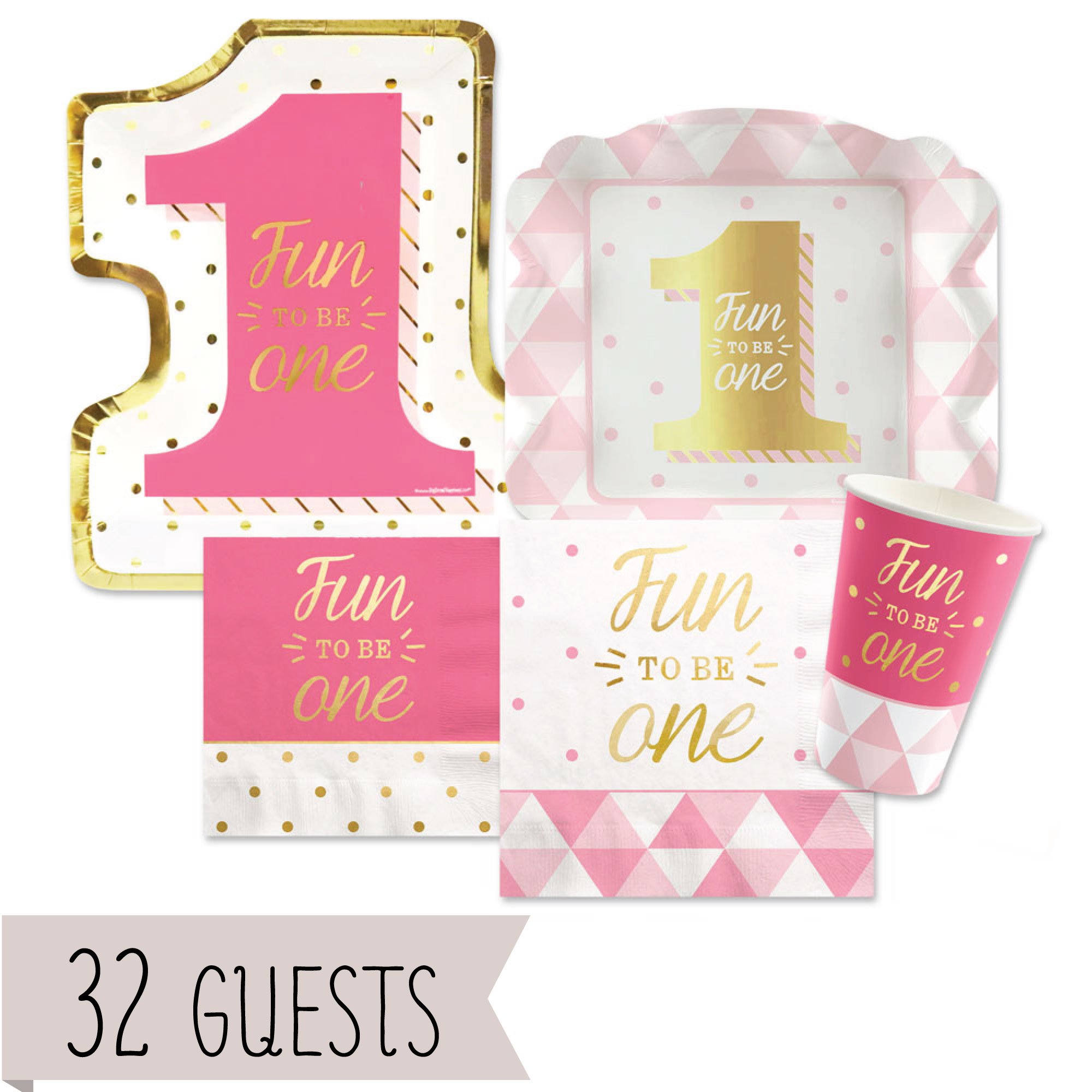 Fun to be One - 1st Birthday Girl with Gold Foil - Party Tableware Plates, Cups, Napkins - Bundle for 32