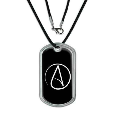 Atheism Symbol - Atheist - White on Black Dog Tag (Symbol Dog Tag Pendant)