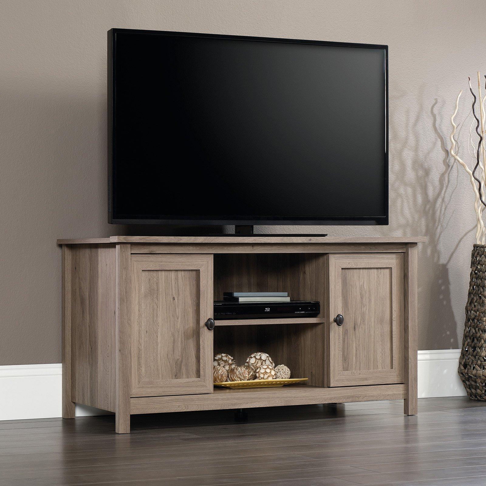 "Sauder County Line Panel TV Stand for TVs up to 47"", Salt Oak Finish"