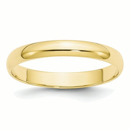 10k Yellow Gold 3mm LTW Half Round Band -
