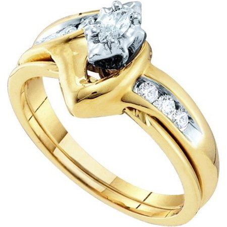 10K Yellow Gold 0.24ctw Elegant Channel Set Diamond Marquise Ladies Bridal Ring