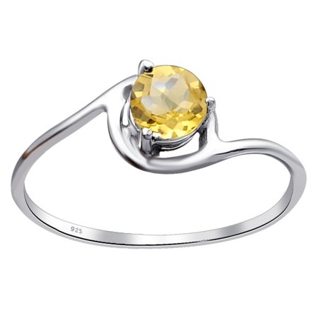 Essence Jewelry 925 Sterling Silver 0.45 Ctw Citrine Solitaire Ring Size -8 Ctw Citrine Ring