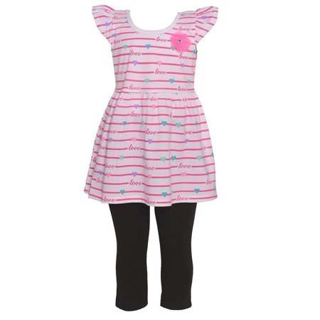 Girls Potato - Littoe Potatoes Girls Hot Pink Stripe Heart Tunic 2 Pc Legging Set
