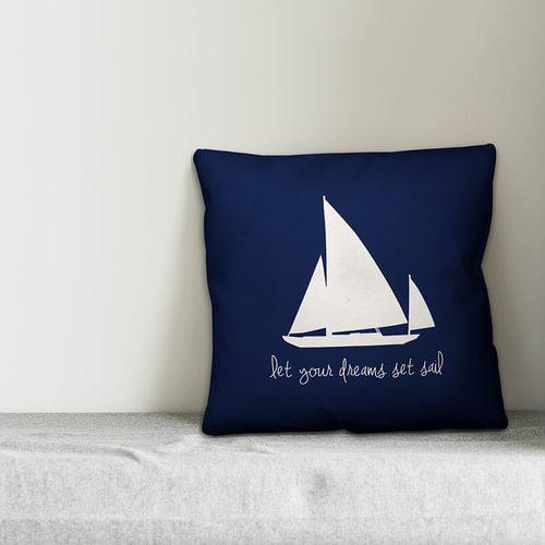 Zoomie Kids Kacie Dreams Set Sail Throw Pillow