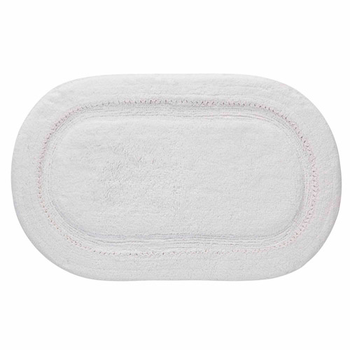 Ruffles Oval Bath Rug, White, ...