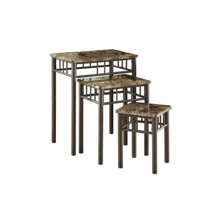 Pemberly Row 3 Piece Metal Nesting Tables in Cappuccino and Bronze Cappuccino Nesting Table