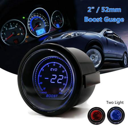 2 52mm Turbo Boost Vacuum Car Auto Digital Led Meter Gauge Tint Lens Blue Red