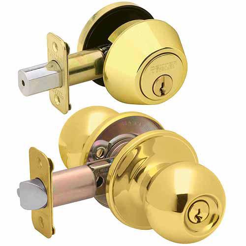Schlage JC60VJ54VCNA605 Bright Brass Corona Keyed Entry Knob and Deadbolt Combo