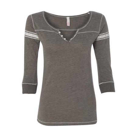 W1454 MV Sport T-Shirts Women's Hailey Henley Three-Quarter Sleeve