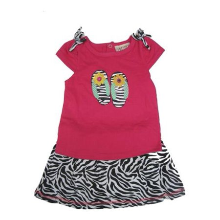Baby Girls Fuchsia Top Black Zebra Pattern 2 Pc Skirt Outfit 12-24M](Zebra Outfit)