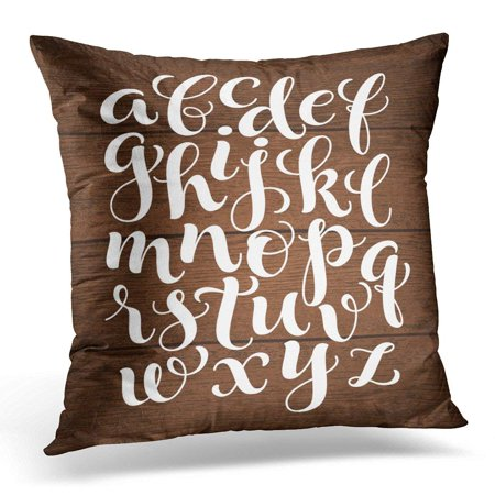 ARHOME Alphabet with Hand Written ABC Letters on Wood Calligraphy Collection Chalk Pillows case 18x18 Inches Home Decor Sofa Cushion Cover - Letters Home Collection
