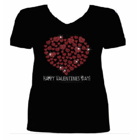 Bling Valentines Day Womens T Shirt VAL-186-SV - S (Womens Halloween Bling Shirts)