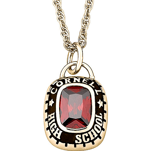 Personalized 18kt Gold-Plated with Cushion-Cut Stone Class Pendant