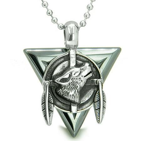 Amulet Arrowhead Howling Wolf Trinity Dreamcatcher Hematite Pendant 18 Inch Necklace