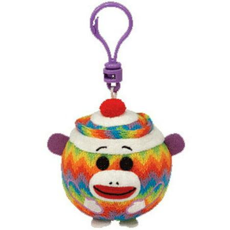 TY Beanie Ballz - SOCK MONKEY (Rainbow Zig-Zag) (Plastic Key Clip - 2.5 (Rainbow Monkey)
