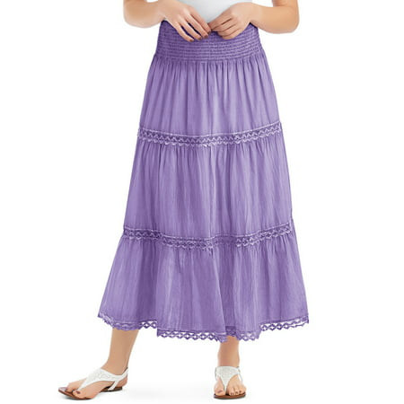 Fur Halter Skirt (Women's Lace Trimmed Tiered Pull-On Skirt with Wide Elastic Waistband - Stylish Seasonal Skirt for Everyday Wear, Xx-Large, Lavender )