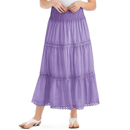 Women's Lace Trimmed Tiered Pull-On Skirt with Wide Elastic Waistband - Stylish Seasonal Skirt for Everyday Wear, Xx-Large, Lavender