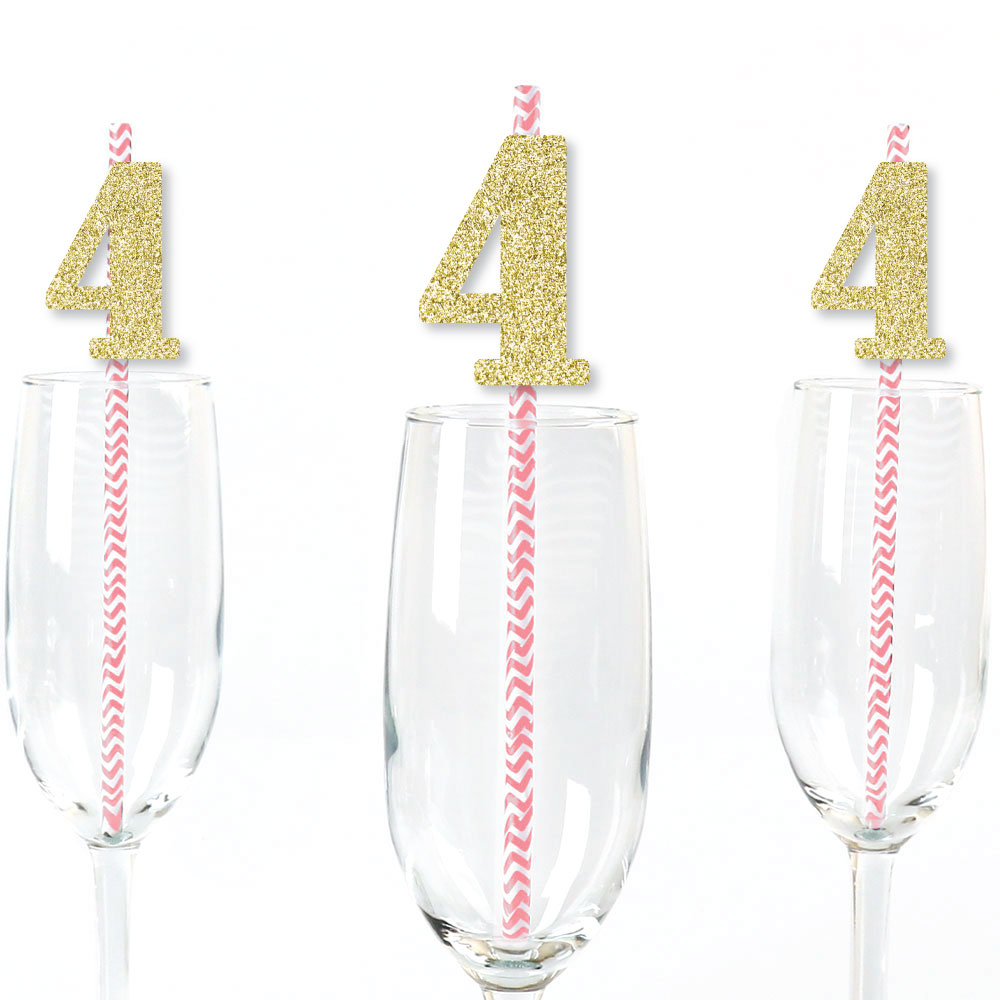 Gold Glitter 4 Party Straws - No-Mess Real Gold Glitter Cut-Out Numbers & Decorative 4th Birthday Paper Straws - 24 Ct