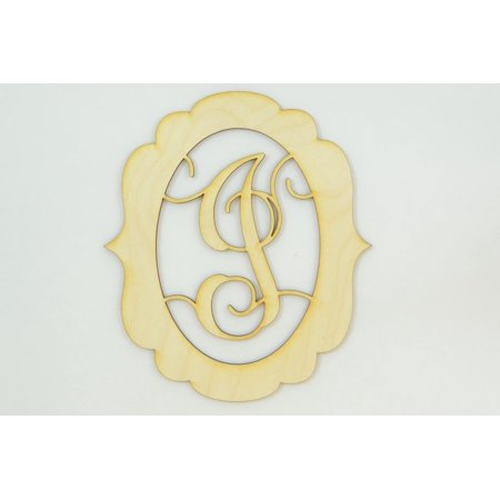 "1 Pc, Small 5"" X 5.75"" X 1/8 Inch Thick Framed Monogram w/Vine Font Letter I For Party & Home Decor"