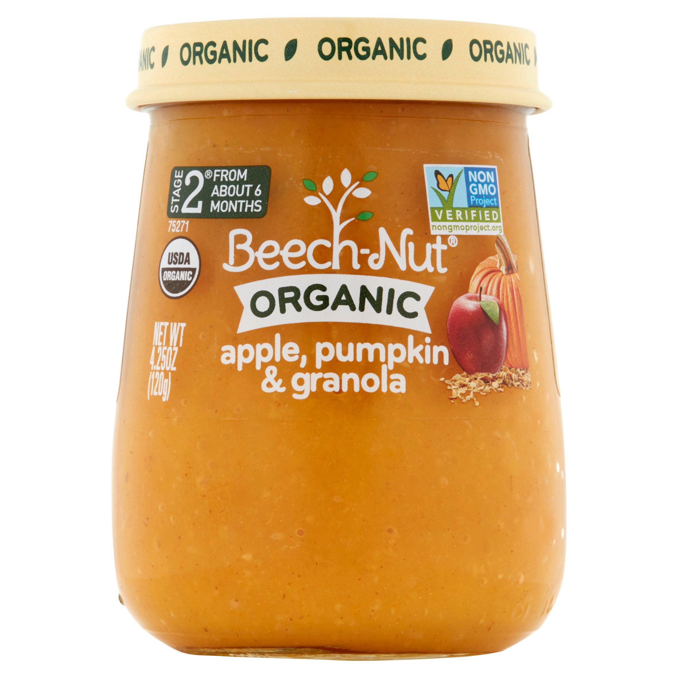 Beech-Nut Organic Stage 2 Apple, Pumpkin & Granola Baby Food, 4.25 oz, (Pack of 10)