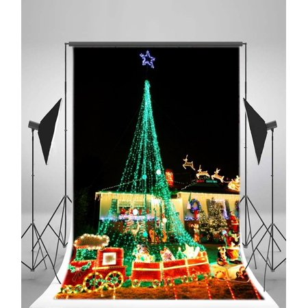 Colorful Christmas Background For Kids.Hellodecor Polyester Christmas Backdrop 5x7ft Photography Background Christmas Eve Santa Claus Colored Lights Xmas Trees Decorations Wreath Candy