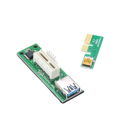 Mini PCI-E X1 Extension Cable PCIE 1X Expansion Riser Card 90°Right Angle with USB Cable and SATA Cable - image 3 of 7