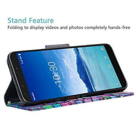 T-Mobile Revvl 2 Plus Case, Alcatel 7 Folio Case, Alcatel 7 Case, PU Leather Flip Fold Wallet Case [Kickstand Feature] with [ID&Credit Card Slot] - Rainbow - image 3 de 4