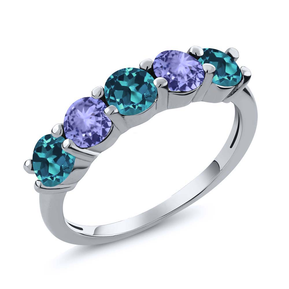 0.96 Ct London Blue Topaz Blue Tanzanite 925 Sterling Silver Wedding Band Ring