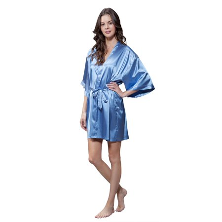 Turquaz Women's Pure Color Satin Short Kimono Bridesmaids Lingerie Robes - White Wizard Robe