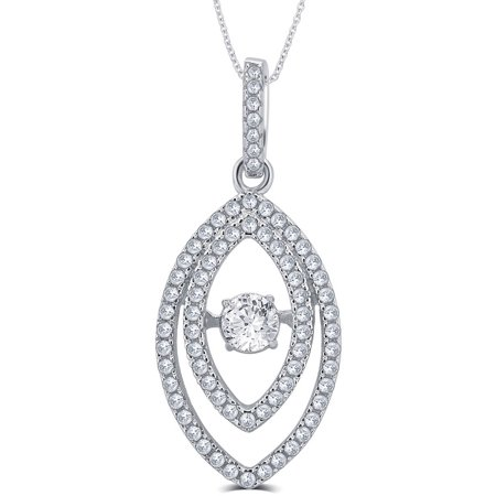 "1/4 Carat T.G.W. White Round-Cut CZ and Dancing Swarovski Crystal Sterling Silver Marquise Fashion Pendant, 18"" Chain"