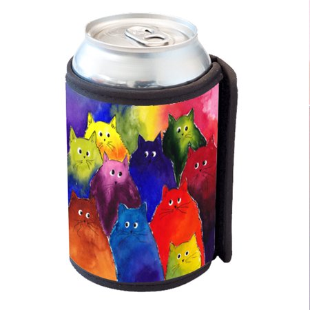 KuzmarK Insulated Drink Can Cooler Hugger - Very Colorful Two-Toned Silly Maine Coon Kitties Rainbow Background Art by Denise Every - Rainbow Dash 20 Cooler
