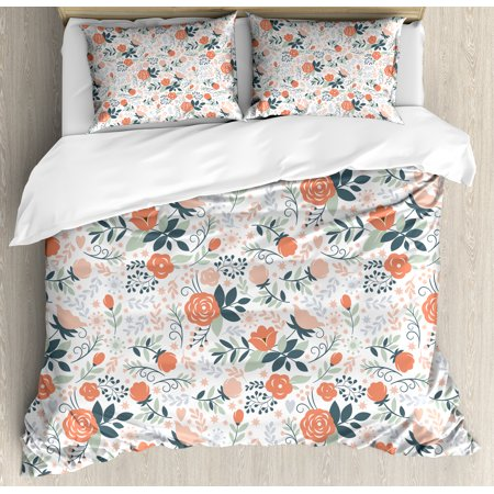 Floral Duvet Cover Set, Shabby Blooms Nature Inspired Stylish Botanical Beauty Illustration, Decorative Bedding Set with Pillow Shams, Salmon Peach Almond Green, by Ambesonne
