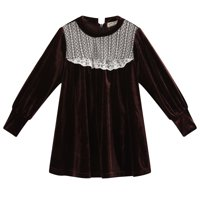 Richie House Little Girls Brown Velvet White Lace Accents Puff Sleeve Dress 1/2